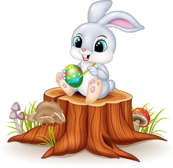 عکس خرگوش کارتونی سفید و خاکستری