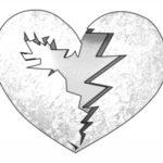 عکس قلب شکسته نقاشی مداد
