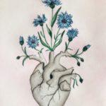 نقاشی قلب و گل