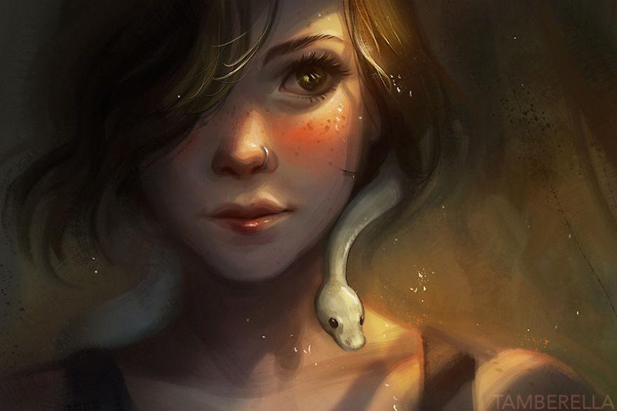 نقاشی فانتزی حرفه ای دخترانه