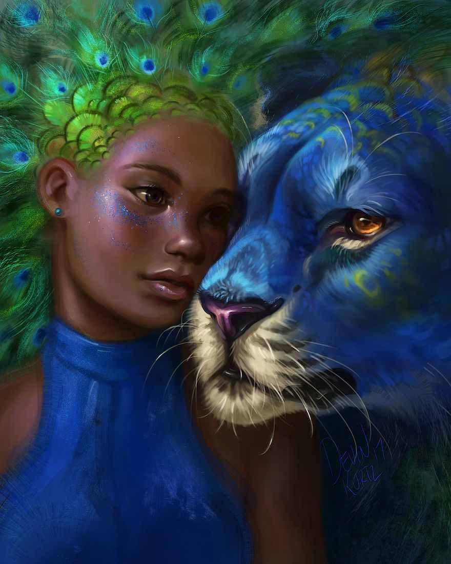 نقاشی فانتزی حرفه ای انسان و حیوانات