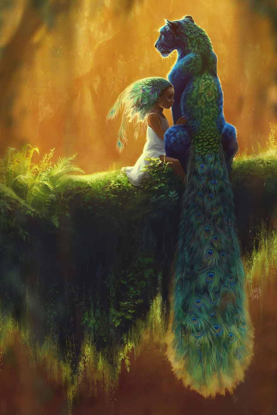 نقاشی فانتزی کودک و طاووس