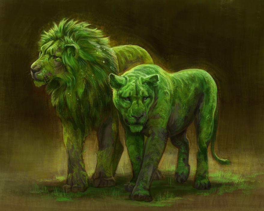 نقاشی فانتزی حرفه ای از شیر نر و ماده