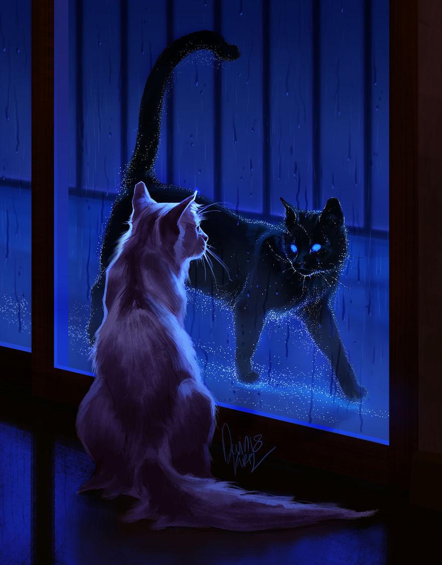 نقاشی فانتزی زیبا گربه