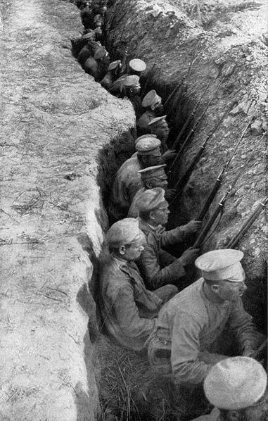 تصویری از سربازان روسی در سنگر جنگ جهانی اول