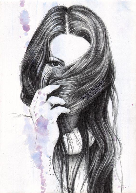 نقاشی فانتزی سیاه سفید دخترونه