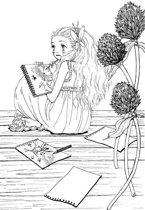 عکس نقاشی فانتزی سیاه و سفید دخترونه