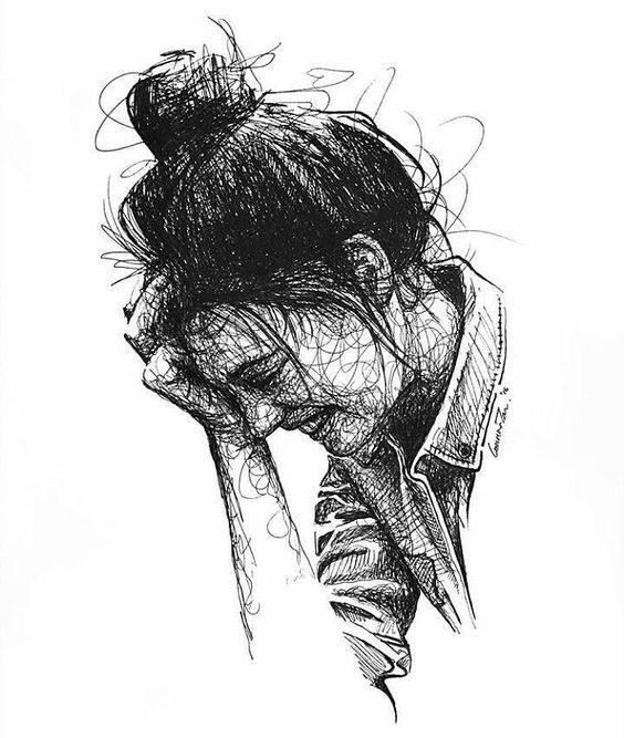 نقاشی سیاه و سفید فانتزی دخترونه
