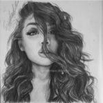 نقاشی دختر فانتزی سیاه و سفید برای پروفایل