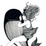 نقاشی دختر فانتزی سیاه و سفید