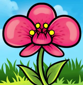 مدل نقاشی گل قرمز برای کودکان