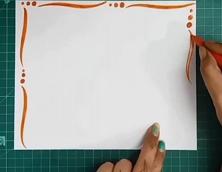 آموزش ساده کشیدن نقاشی حاشیه دفتر