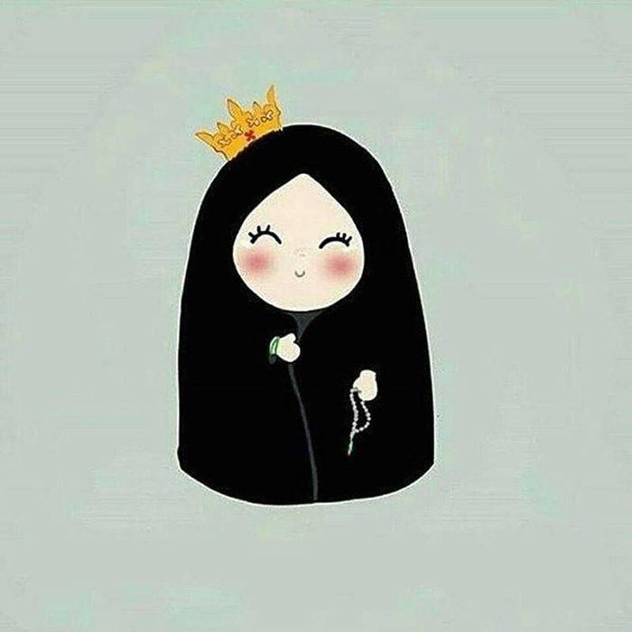 عکس دختر چادری کارتونی برای پروفایل