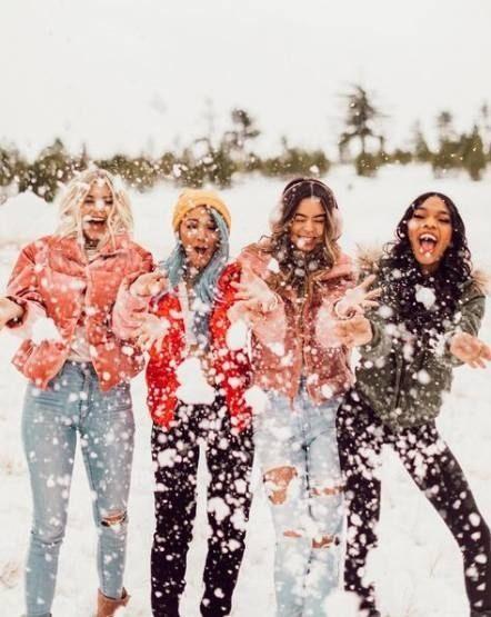 ژست عکس در برف دسته جمعی دخترونه