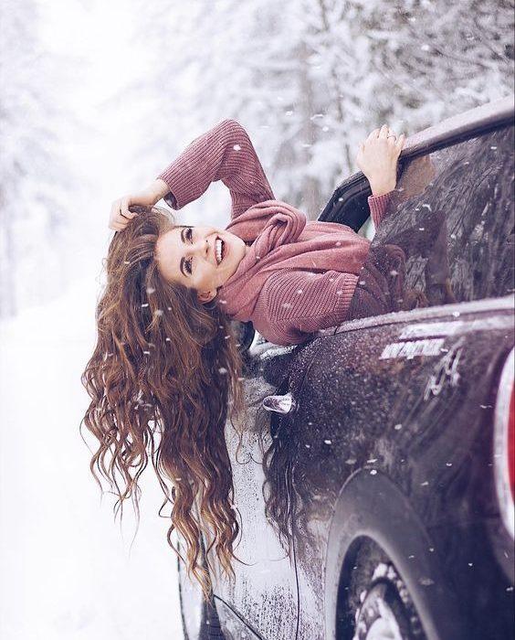 ژست عکس در برف دخترونه