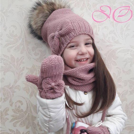 مدل شال و کلاه بچه گانه بافتنی دختر