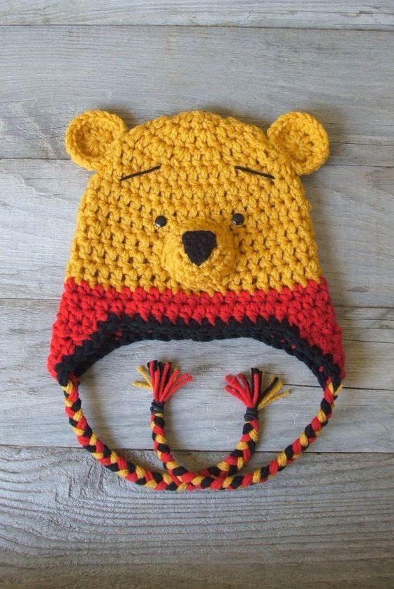 مدل کلاه بافتنی شکل خرس بچه گانه