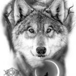 عکس نقاشی گرگ وحشی سیاه و سفید