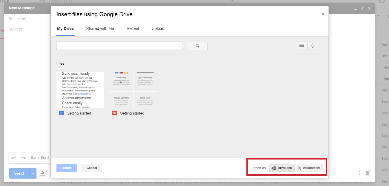 چگونگی ارسال فایل با استفاده از جیمیل، ارسال فایل از گوگل درایو