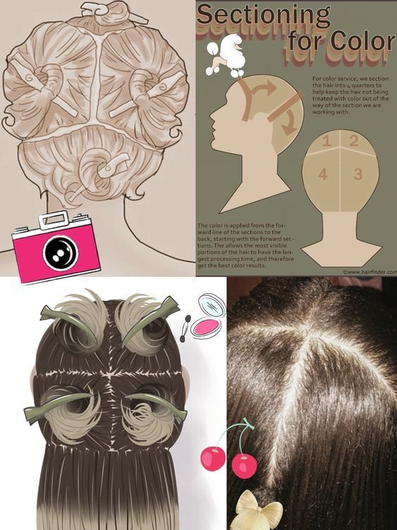 آموزش تقسيم بندی مو براي رنگ كردن