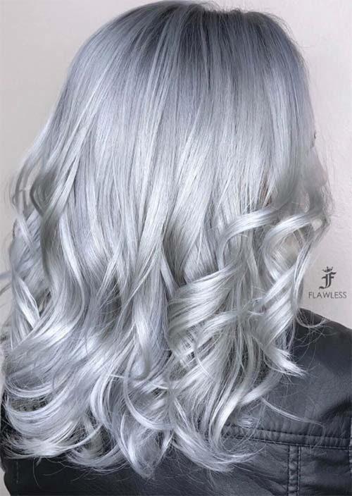 رنگ موی دودی نقره ای