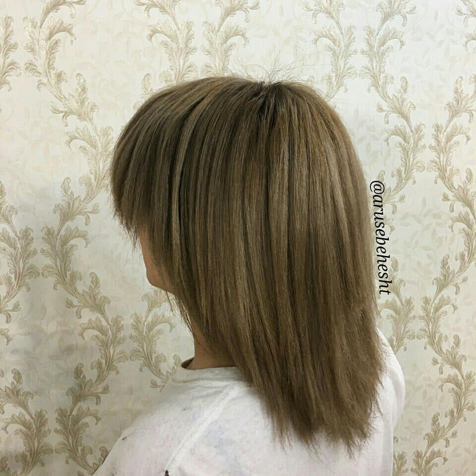 عکس مدل رنگ موی نسکافه ای کوتاه