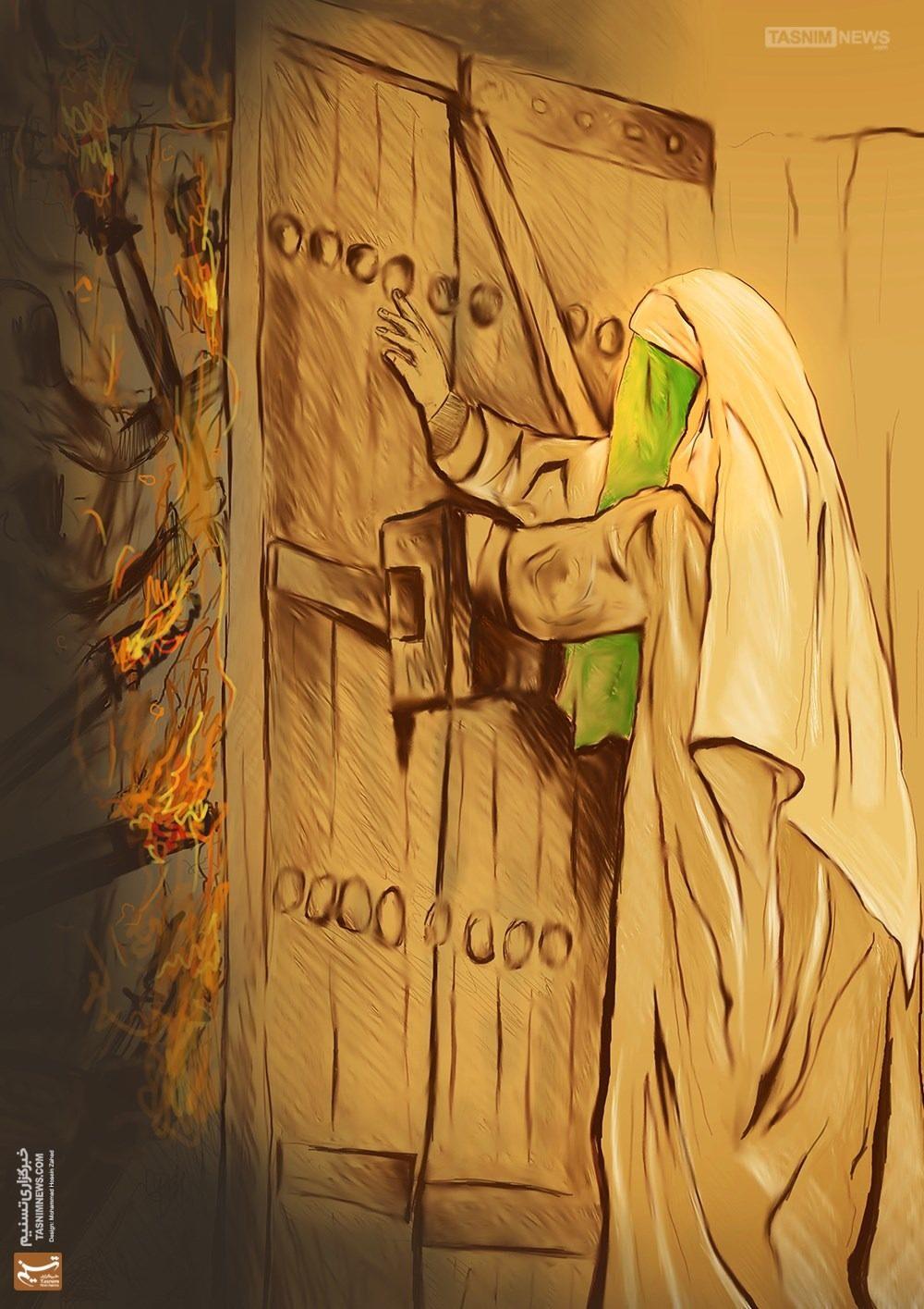 نقاشی حضرت فاطمه و ضربت خوردن ایشان پشت در