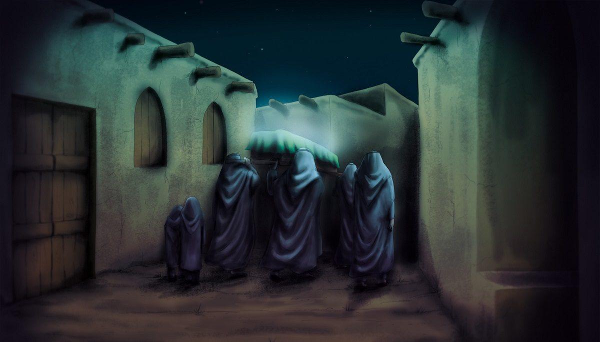 نقاشی تشییع حضرت فاطمه در شب