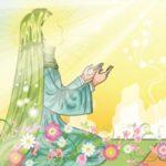 نقاشی کودکانه نماز خواندن حضرت فاطمه
