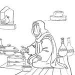 نقاشی حضرت فاطمه در حین انجام کارهای منزل
