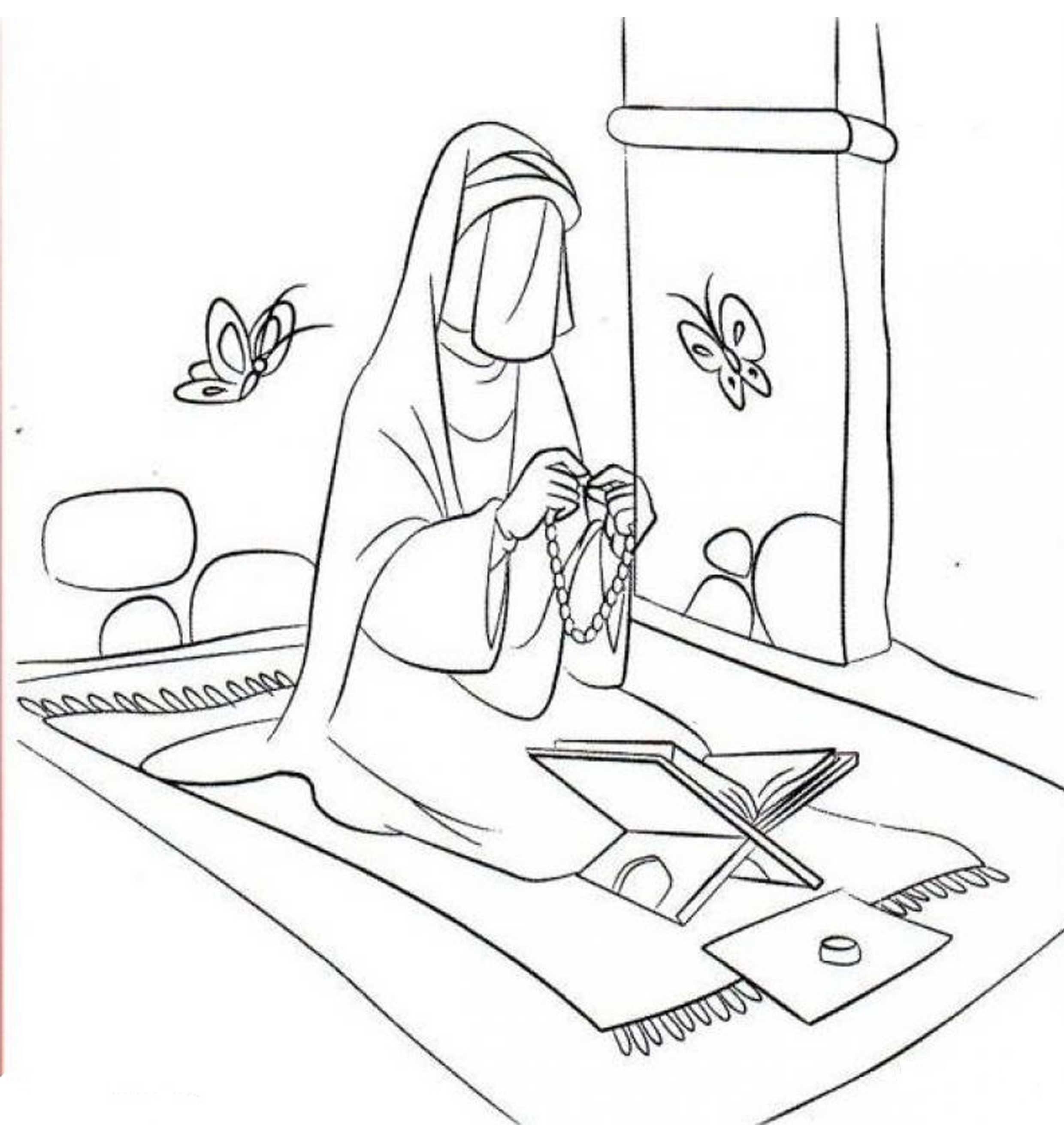 نقاشی عبادت حضرت فاطمه