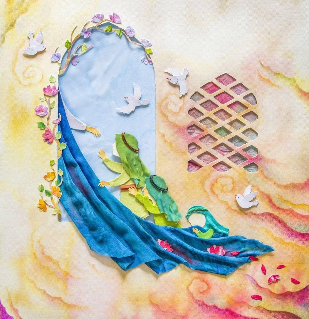 نقاشی کودکانه حضرت فاطمه (س)