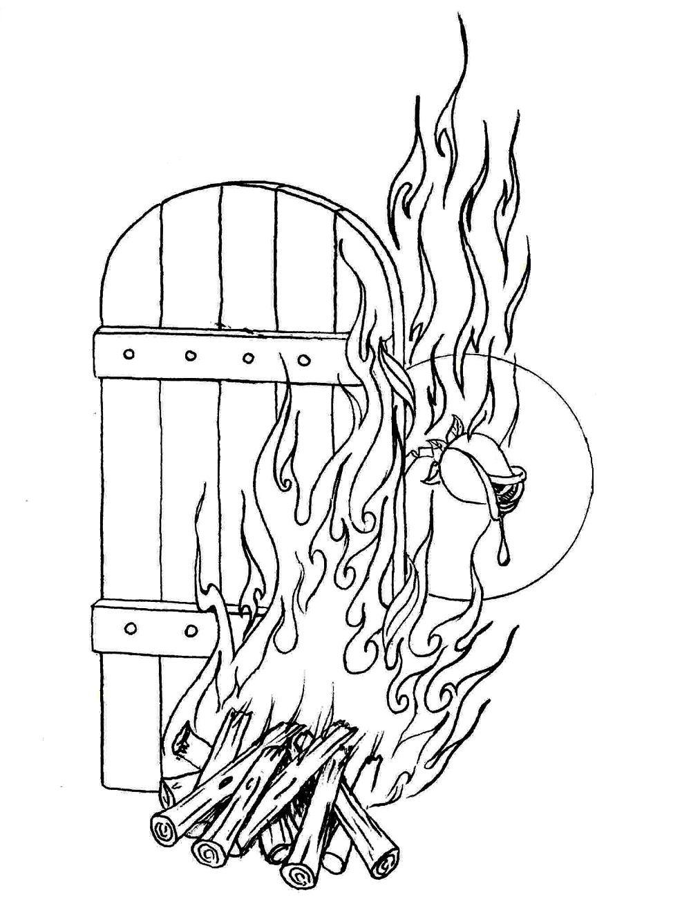 نقاشی آتش زدن خانه حضرت فاطمه
