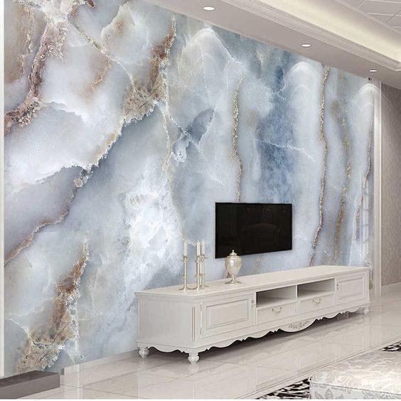 عکس کاغذ دیواری سه بعدی پشت تلویزیون
