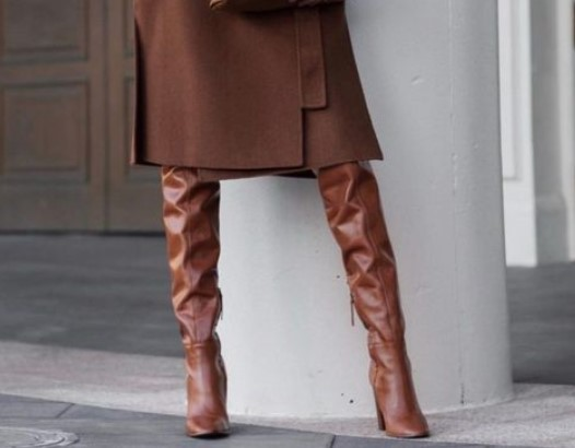 مدل پوتین دخترانه پاشنه بلند چرم قهوه ای