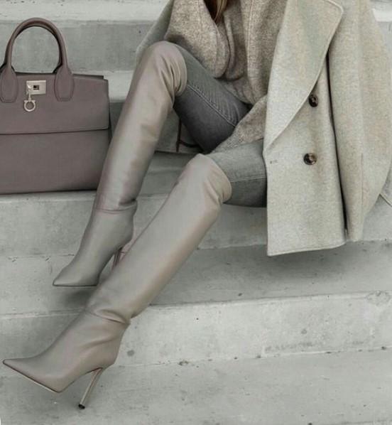 مدل پوتین دخترانه پاشنه بلند چرم خاص