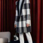 مدل پالتو چهارخونه دخترانه طوسی مشکی