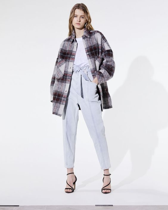 مدل پالتو کتی چهارخونه دخترانه کوتاه