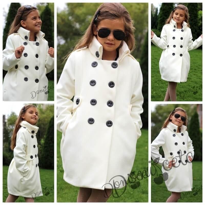 مدل پالتو شیک بچگانه دخترانه 2021 سفید