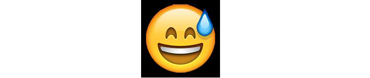 ایموجی خندان با دهان باز و عرق پیشانی